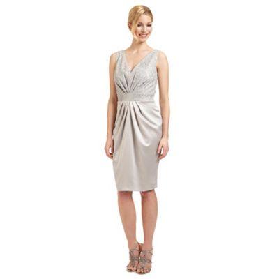 Ariella London Silver 'Carina' satin and lace dress