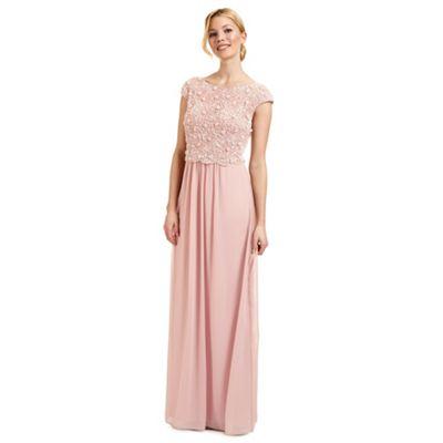 Ariella London Pink 'Amerie' beaded overlay evening dress