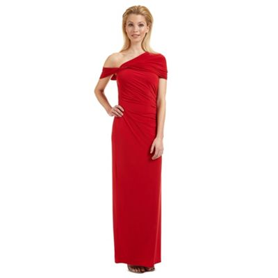 Ariella London Red 'Endra' off-the-shoulder evening dress