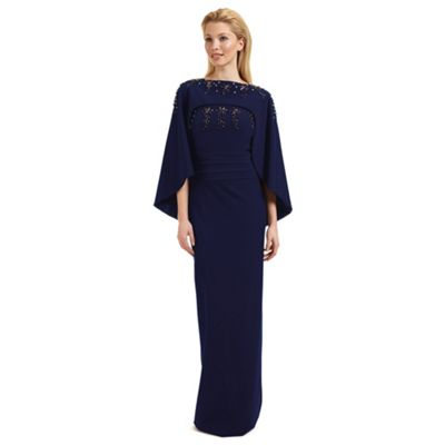 Ariella London Blue 'Olympia' beaded evening dress with cape