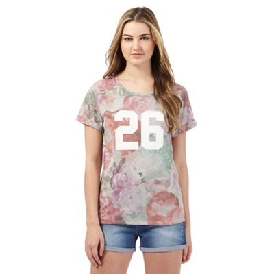 H! by Henry Holland Multi-coloured floral print '26' applique t-shirt