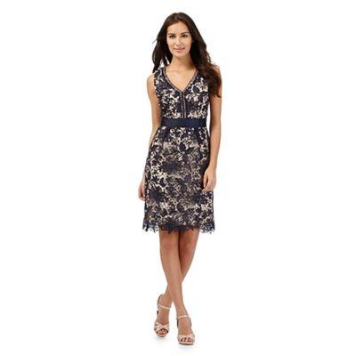 Betty Jackson.Black Blue lace dress