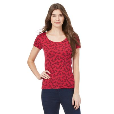 The Collection Dark pink butterfly print t-shirt