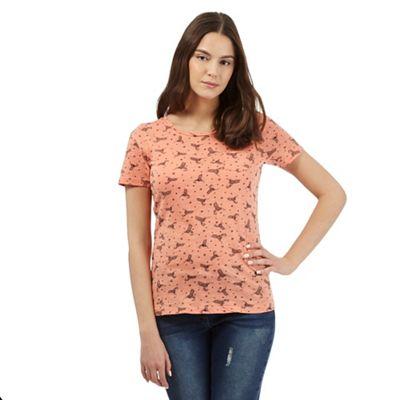Red Herring Orange hummingbird print t-shirt