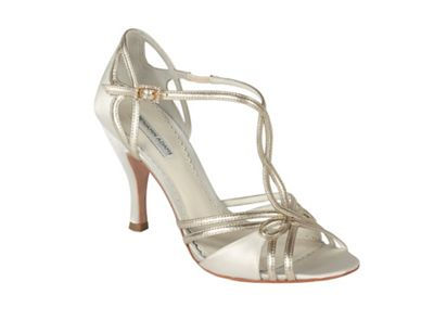 Benjamin Adams Ivory satin and gold leather 'Preston' sandal