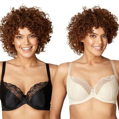 Gorgeous DD+ Pack of two black and nude lace D-H t-shirt bras