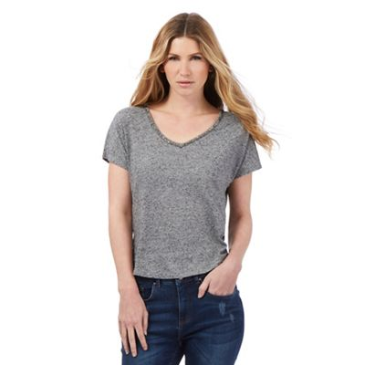 Nine by Savannah Miller Grey sparkle trim t-shirt
