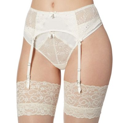 B by Ted Baker Ivory embroidered Swarovski crystal detail suspender belt