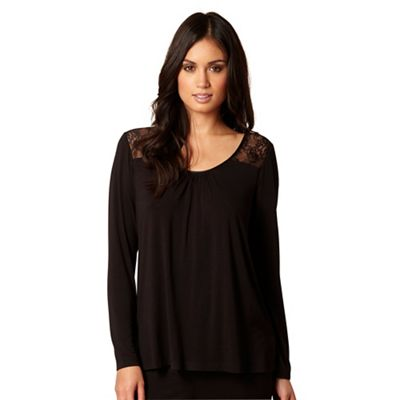 B by Ted Baker Black long sleeve jersey and lace pyjama top