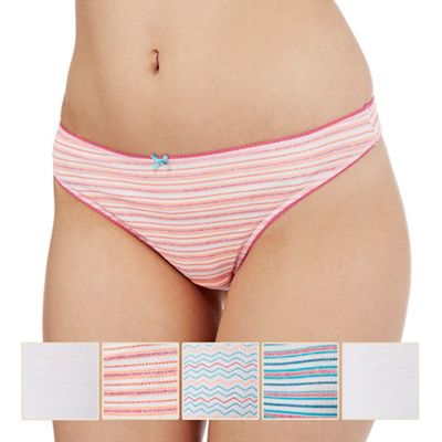 The Collection Pack of five assorted plain, striped and zig zag print thongs