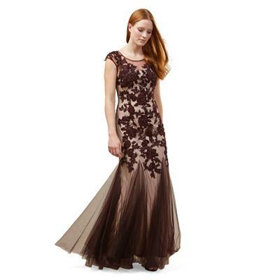 Phase Eight Oxblood 'Rita' tulle full length dress