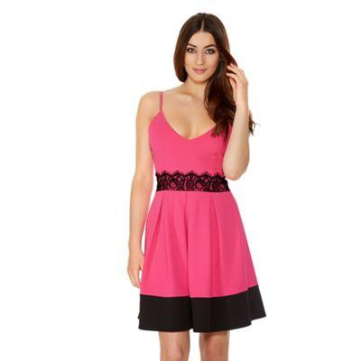 Quiz Hot Pink Crepe Lace Detail Skater Dress