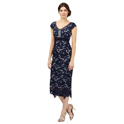 Debut Navy lace overlay dress