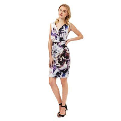 Lipsy Purple floral print wrap dress