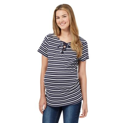 Red Herring Maternity Navy textured stripe lace up neck t-shirt