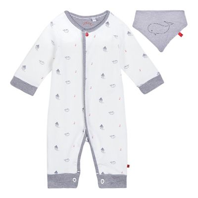 c25735f25ff4 J by Jasper Conran Baby boys  white boat and whale print romper suit and bib