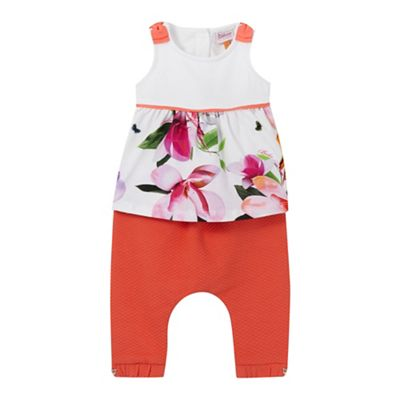 Baker by Ted Baker Baby girls' white floral print top and orange quilted harem trousers