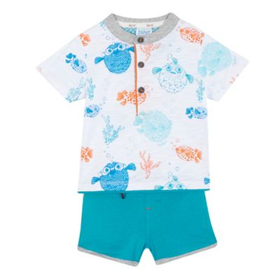 Baker by Ted Baker Baby boys' multi-coloured fish printed t-shirt and shorts set