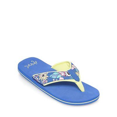 Animal Girls' blue floral print flip flops