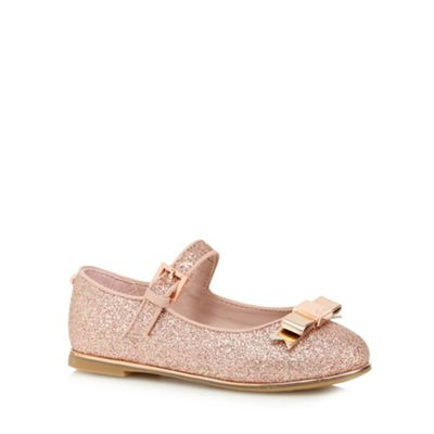 Baker by Ted Baker Girls' pink glittery bow applique shoes