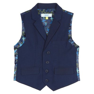 Baker by Ted Baker Boys' navy mini checked print waistcoat