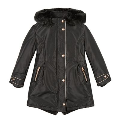 Baker by Ted Baker Girl's black textured faux fur hooded parka coat