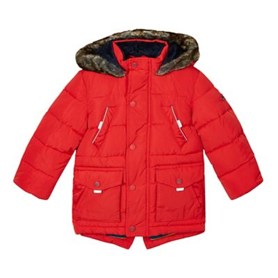 Baker by Ted Baker Boy's red faux fur lined padded parka