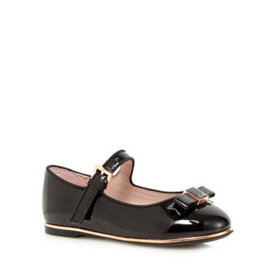 Baker by Ted Baker Girls' black patent bow applique shoes