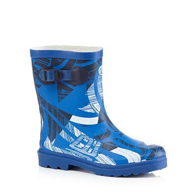 Animal Boys' blue logo print wellington boots