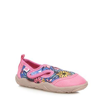 Animal Girls' pink floral print rip tape shoes
