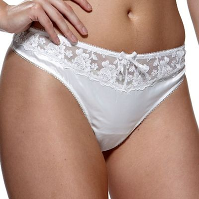 Charnos Online exclusive ivory 'belle' bridal thong