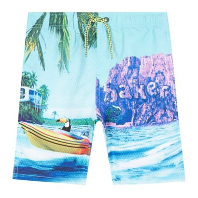 Baker by Ted Baker Boys' green photographic beach scene swim shorts