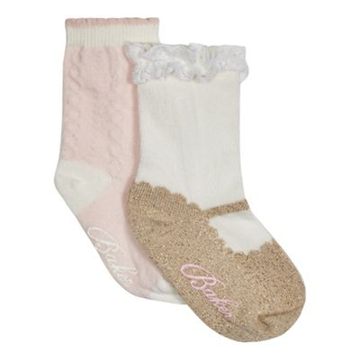 Baker by Ted Baker Pack of two baby girls' pink and cream socks