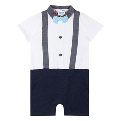 Baker by Ted Baker Baby boys' white braces romper suit