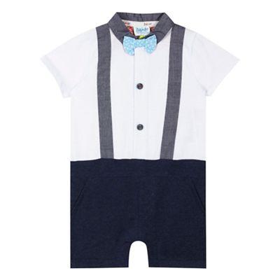 8eb314500e0390 Baker by Ted Baker Baby boys  white braces romper suit