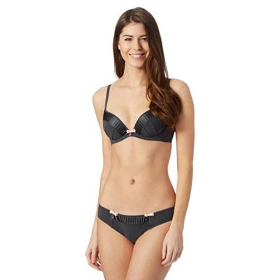 B by Ted Baker Grey pleated satin edge plunge bra