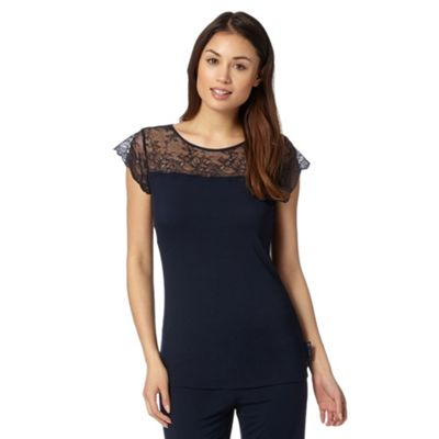 B by Ted Baker Navy jersey lace short sleeved pyjama top