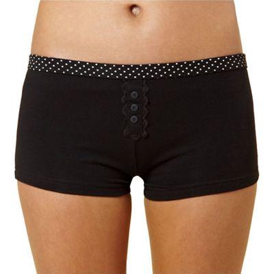Debenhams Black cotton spot trim shorts