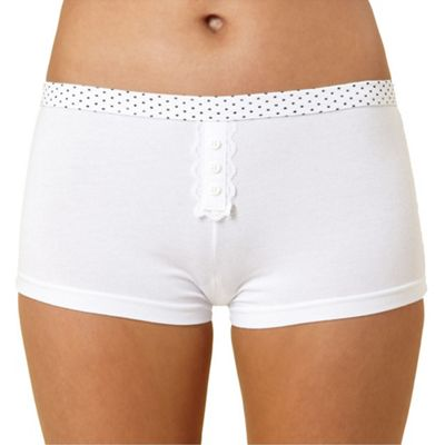 Debenhams White cotton and lace placket short with spot waistband