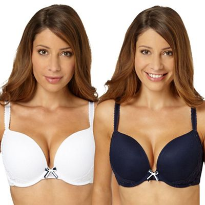 48c253a146 Debenhams Pack of two navy and white embroidered push up bras