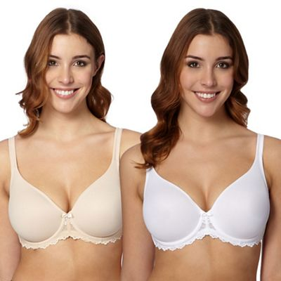 Gorgeous DD+ Pack of two natural and white D-H non-padded t-shirt bra