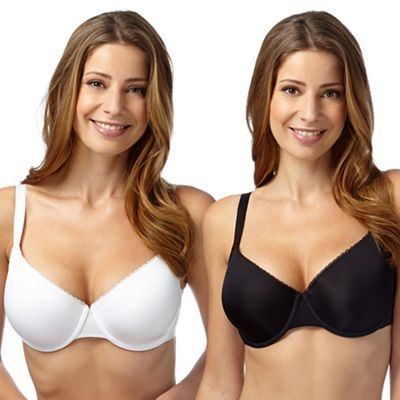 Gorgeous DD+ Pack of two black and white lace trim t-shirt bras