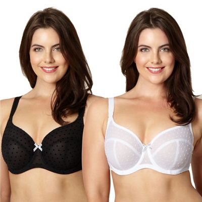 Gorgeous DD+ Pack of two black and white flocked spot t-shirt bras