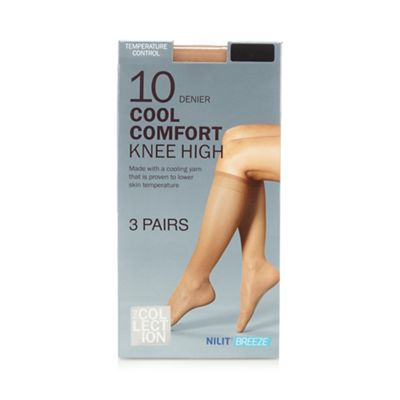 The Collection Pack of three nude 10D knee highs