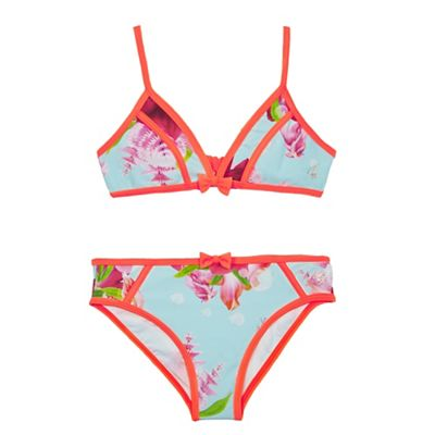 8ac348796c Baker by Ted Baker Girls' blue floral print two-piece bikini
