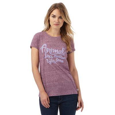 Animal Purple marl embroidered t-shirt