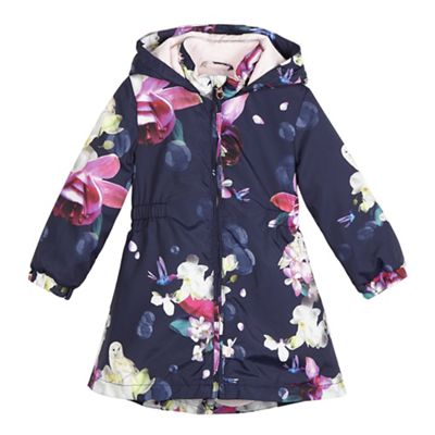 b04308383253ca Baker by Ted Baker Girls  navy floral print showerproof mac coat