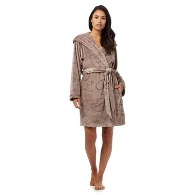 4aa529e83 B by Ted Baker Fawn debossed logo hooded dressing gown