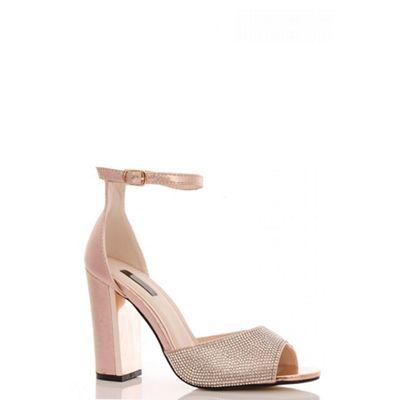 df7982e2cc6 Quiz Rose Gold Diamante Block Heel Sandals