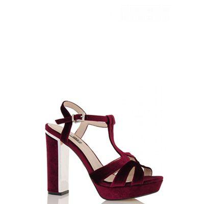 23f3b210eb Quiz Wine Velvet Block Heel Sandals